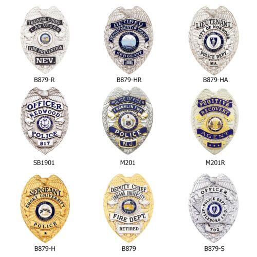 "Perfect Fit Police Badge Wallet Eagle Top B879 SB1901 3/"" Teardrop Shape"