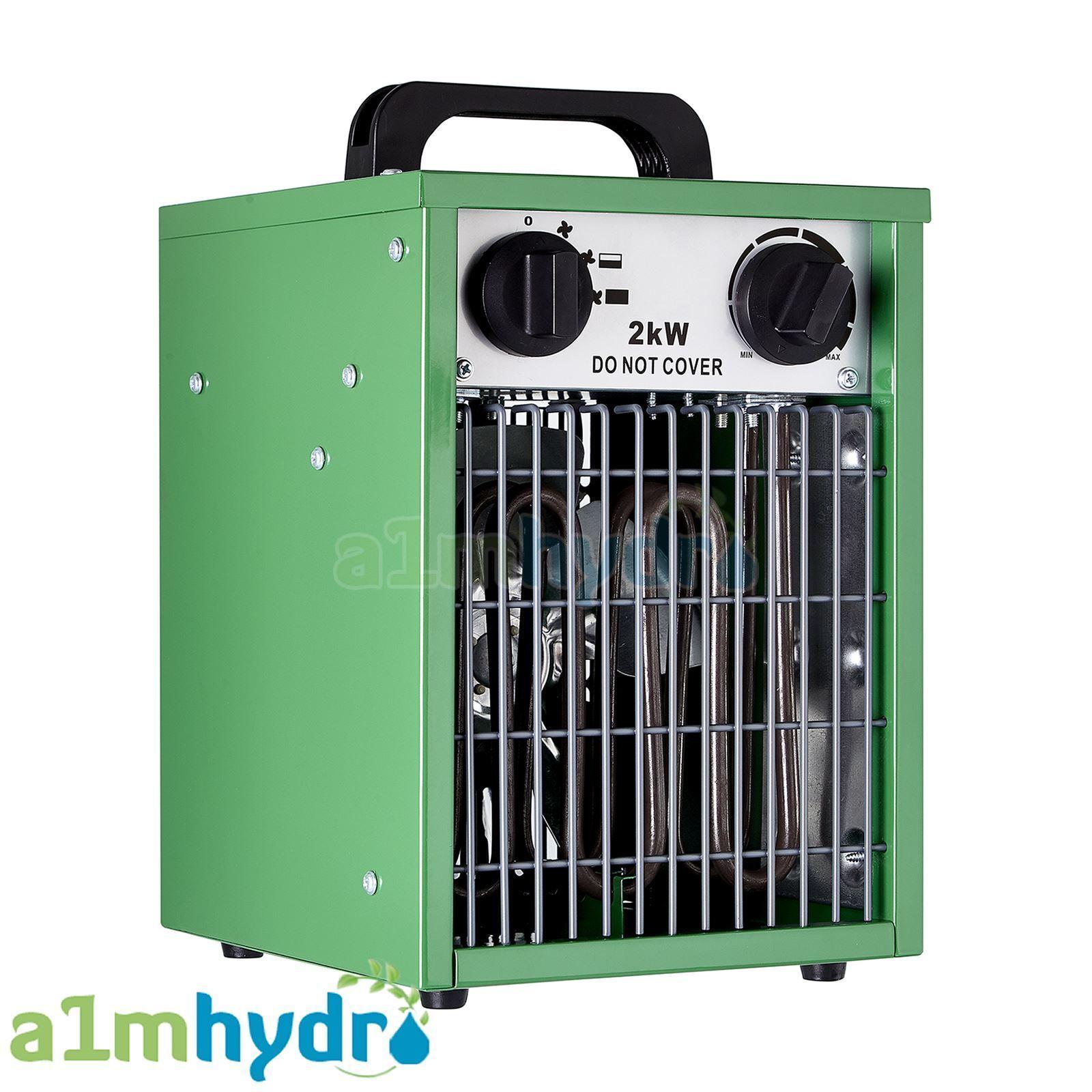 Ventilador Calefactor Eléctrico de efecto invernadero Hydrogarden 2 kW construido en Termostato Hydroponics