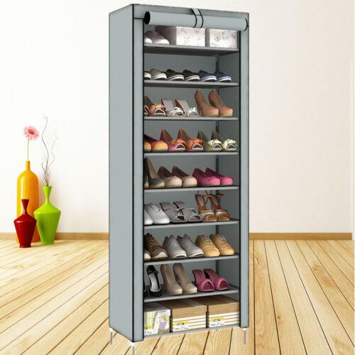10-Schicht Schuhschrank Schuhablage Schuhregal Schuhständer Vliesstoff Grau HOT!