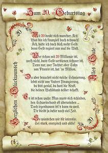 Details Zu 20 Geburtstag Geschenk Urkunde Mit Oder Ohne Wunschtext
