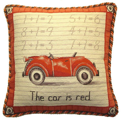 """17/"""" x 17/"""" Handmade Wool Needlepoint Petit Point Car Pillow with Cording"""