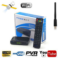 Digital Satellite Tv Receiver Freesat V7 Hd Dvb-s/s2 Fta Set Top Box + Usb Wifi