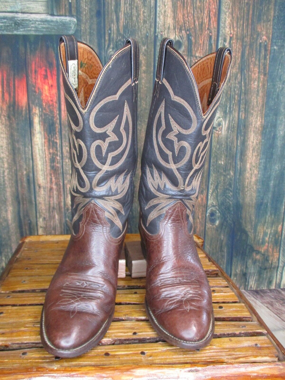 Men's Brown Black Leather Nocona Cowboy Western Boots Sz  10 D