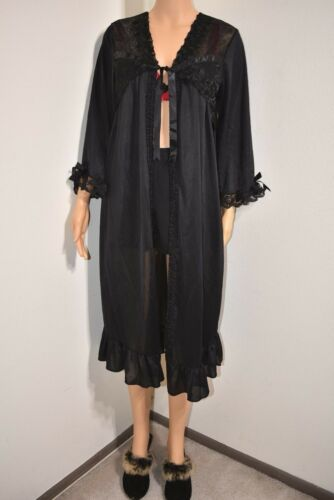 Vtg Peignoir Robe Embroider Floral lace black Ruf… - image 1
