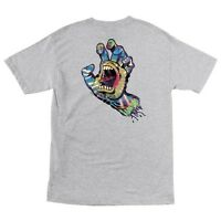 Santa Cruz Screaming Tie Dye Hand Skateboard T Shirt Ash Large on sale
