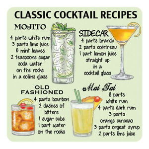 Classic Cocktail Recipes Wine Bar Pub Club Drinks Table Coaster Ebay