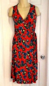 RENEE-C-Womens-Dress-PLus-Size-2X-Sleeveless-Floral-Wrap-Soft-Stretchy-Knit