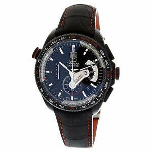 Tag-Heuer-CAV5185-FC6237-Grand-Carrera-Men-039-s-Black-Leather-Watch