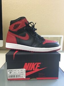 100% authentic 571a9 c9c0a Details about Nike Air Jordan 1 Bred Banned 2016 Size 8.5 I Retro High OG  Black Red