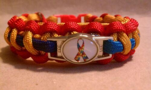Autism Awareness Puzzle Piece Emblem; April Awareness Month Paracord Bracelet