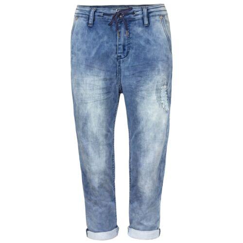 Urban Surface Damen Sweat Caprihose Jeans mit Flügeltaschen Stonewashed