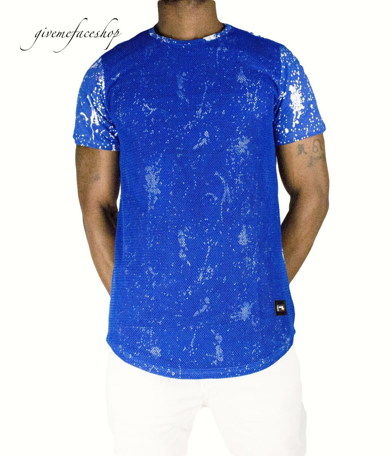 Time is Money mesh splatter star club t shirt, rap hip hop g pu mens tees bluee