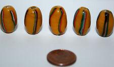 5 X Yellow fancy striped beads