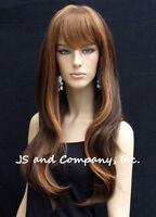 Human Hair Blend Long Straight Brown Strawberry Blonde Wig Bangs Wil 27/4/30