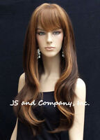 Human Hair Blend Long Straight Brown Strawberry Blonde Wig Bangs Wil 27/4/30