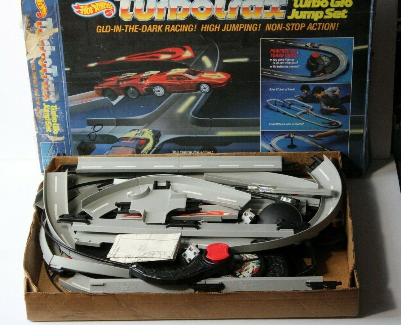 Vintage 1986 Hot Wheels Turbo Trax Racing Car Toy in Box Original Instructions
