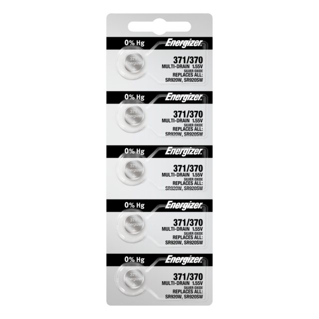 Energizer 371 370 Silver Oxide Coin Cell Batteries 5 Pack Tear Strip