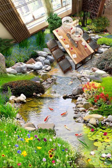 3D Stone Creek Garden 677  Floor WallPaper Murals Wall Print Decal AJ WALLPAPER