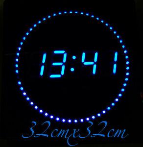 LED-Numerique-Horloge-murale-avec-datum-amp-temperaturanzeige-Silencieux-en-bleu