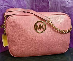 1a4ef55e146e MICHAEL KORS Women's MK Fulton Crossbody Bag Purse Pink Tulip ...