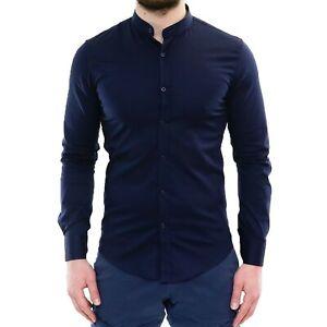 Camicia-Uomo-Collo-Coreana-Slim-Fit-Serafino-Blu-Cotone-Casual-Elegante