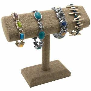 Modern Burlap  Bracelet Watch Jewelry T Bar T Stand Display Holder