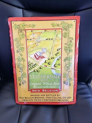 "Used Mothership Wit NEW BELGIUM 12/"" X 16/"" Tin Sign Organic Wheat Beer Man Cave"