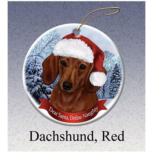 Dachshund Red Howliday Porcelain China Dog Christmas Ornament