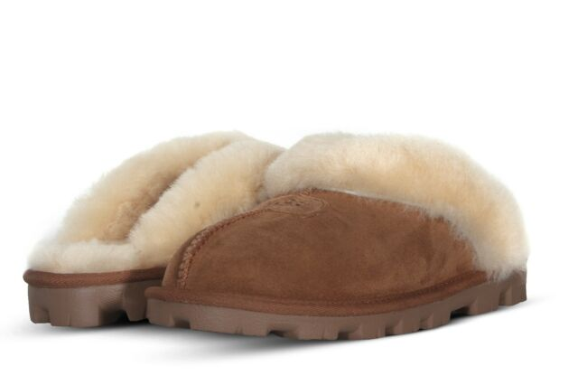 6a9bf596615 UGG Australia Coquette Women's Brown Suede Sheepskin Mule Slippers US Size 6