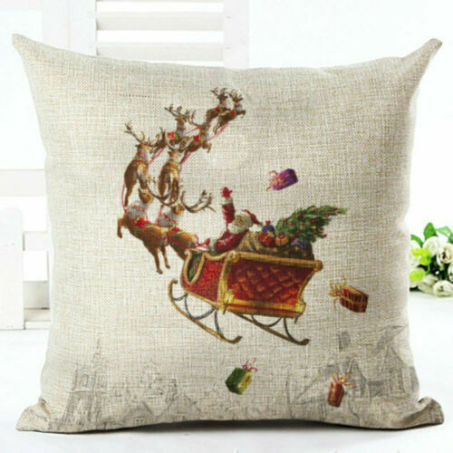 Christmas Pillow Case Santa Cotton Linen Sofa Car Throw Cushion Cover Home Decor