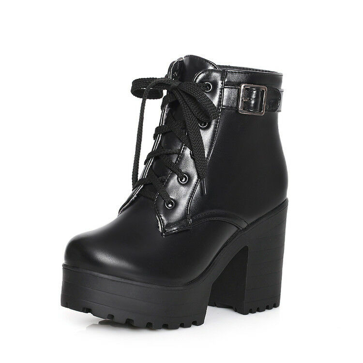 Hot Ladies Platform Lace Up shoes High Block Heel Buckle Combat Ankle Boots Size
