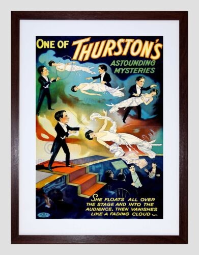 THURSTONS THE MAGICIAN VINTAGE ADVERT BLACK FRAMED ART PRINT PICTURE B12X2562