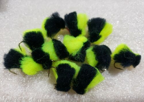 Black//Chartreuse Wet Fly Trout Y2K Bug Egg 1 Dozen Steelhead Salmon