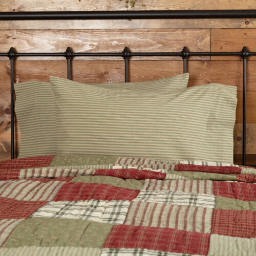 Cotton Pillow Case Set 2 Standard King Prairie Winds Tan Green VHC Farmhouse