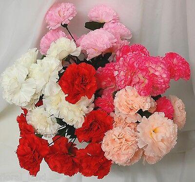 1 x SILK WEDDING BOUQUET CARNATIONS CARNATION POSY BUSH WEDDINGS FLOWER FLOWERS