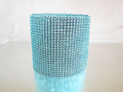 Aqua Blue Diamond Rhinestone Mesh Ribbon Crystal Wrap