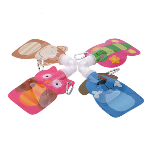 Cute Eco Foldable Cartoon Animal Water Bag Travel Drink Bottle Safe for Kids S