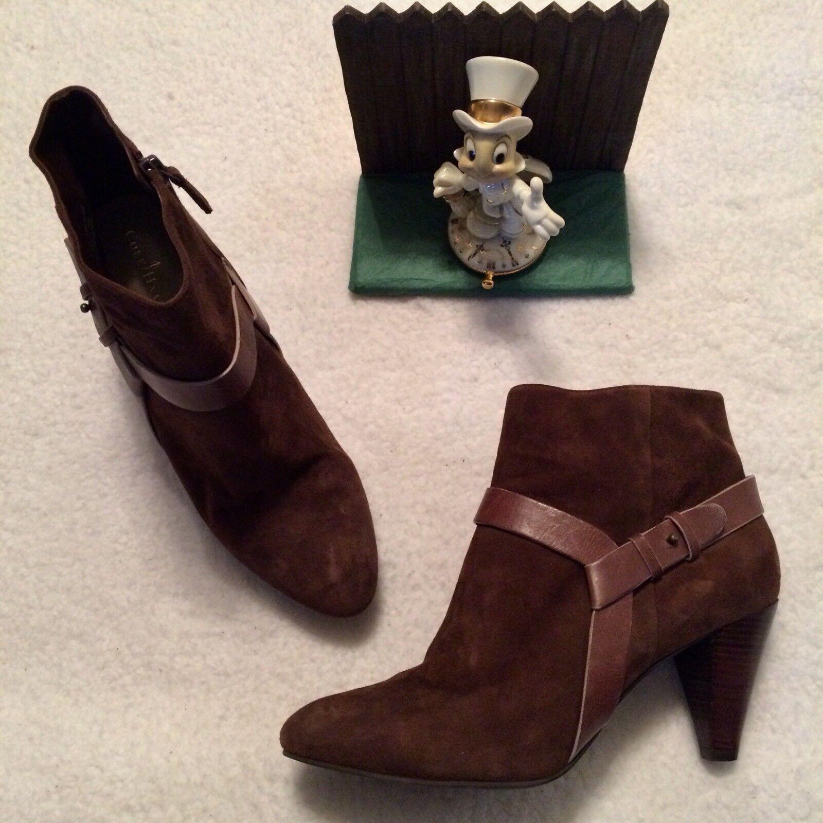 Cole Haan D38416 Booties Damenschuhe Stiefel Größe 10 B Braun Side Zip.. Minimal Wear..