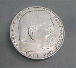 5 Reichsmark Von 1936 Paul Von Hindenburg 900 Silber Münze