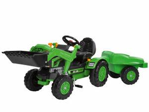 Big-Jimmy-Loader-und-Trailer-Traktor-Trettraktor-gruen-mit-Anhaenger