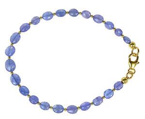 TANSANIT-Armband-925-Silber-vergoldet-Armkette-Z340