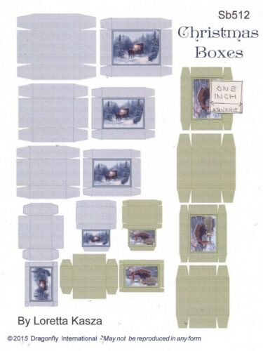 Kit Victorian Christmas Boxes Sheet SB512 dollhouse Dragonfly 1//12 scale wood