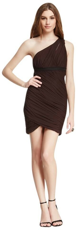 358 NEW Bcbg max azria Women's SZ S Chocolate One Shoulder Tulle Ruched