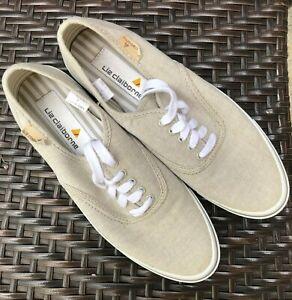 Liz-Claiborne-Women-039-s-Canvas-Sneakers-Size-7-Beige-Lace-Up