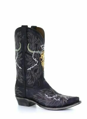 Corral Men/'s Western Boots Black Skull Overlay Embroidery A3766