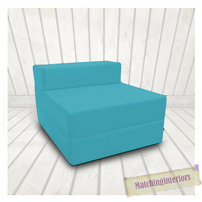 Blue Budget Block Filled Cotton Fold Out Z Bed Folding Mattress Sofa Chair Bed