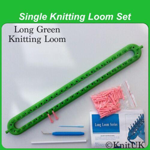 KnitUK Long Green Knitting Loom 50 Pegs 50  Extra-Pegs.