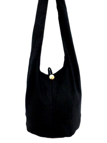 SMALL CAMPUS THIN HOBO SHOULDER BAG MESSENGER CROSSBODY THAI BLACK BOHO YOGA