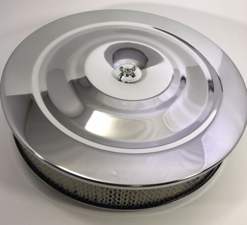 """14/"""" X 3/"""" Round Chrome Air Cleaner Assembly Flat Base Chevy SBC 350 BBC 454 Paper"""
