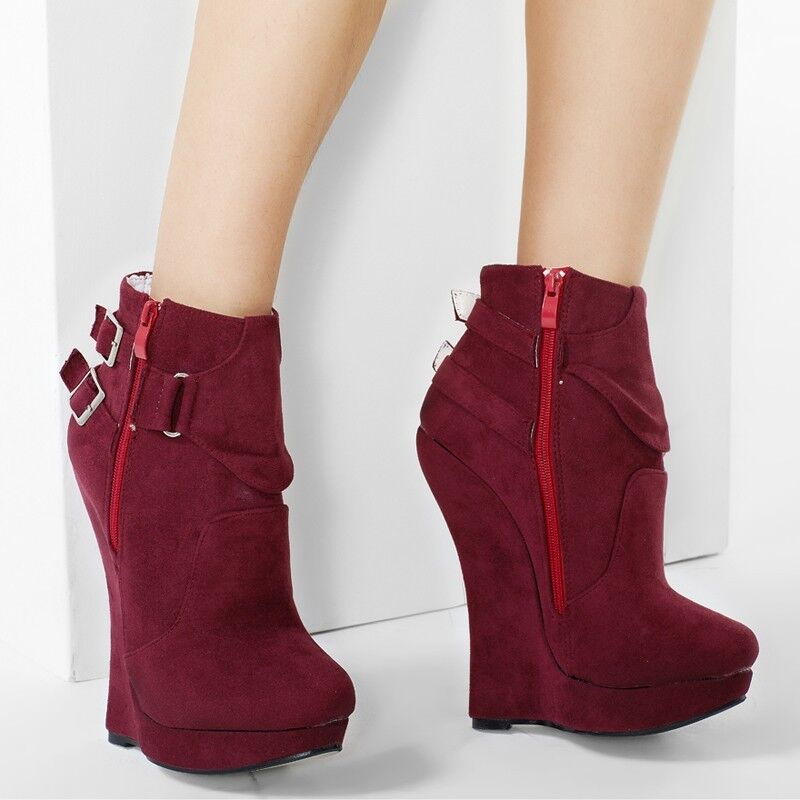 Womens Suede 18CM Super High Wedge Heel Ankle Boots Punk Buckle Nightclub shoes